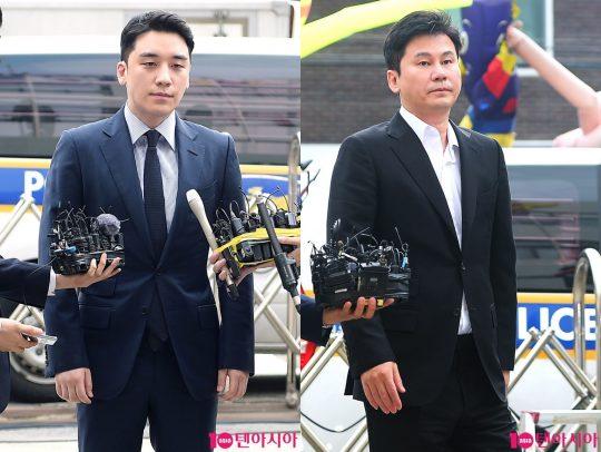 해외 원정 도박 혐의로 경찰 조사를 받은 가수 승리와 양현석 전 YG 총괄 PD./ 사진=텐아시아 DB