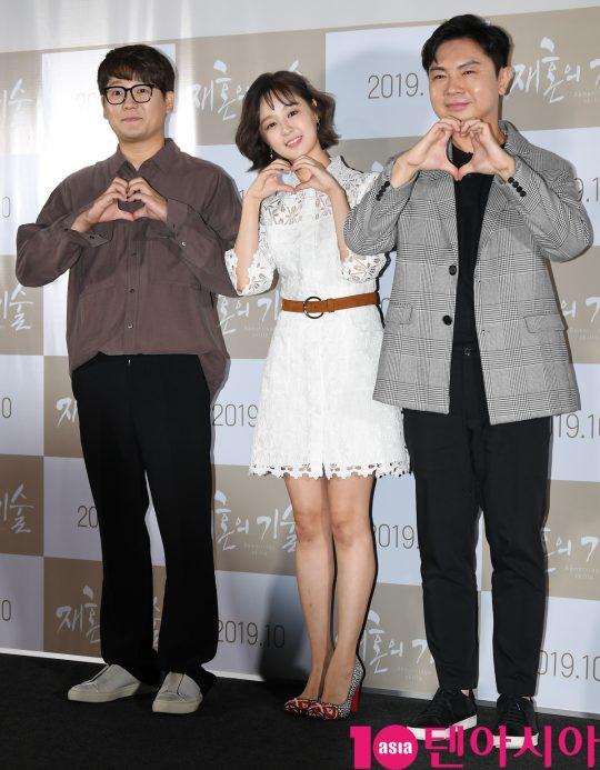 배우 김강현,박해빛나,임원희가 3일 오전 서울 한강로3가 CGV 용산아이파크몰점에서 열린 영화 '재혼의 기술' 제작보고회에 참석하고 있다.