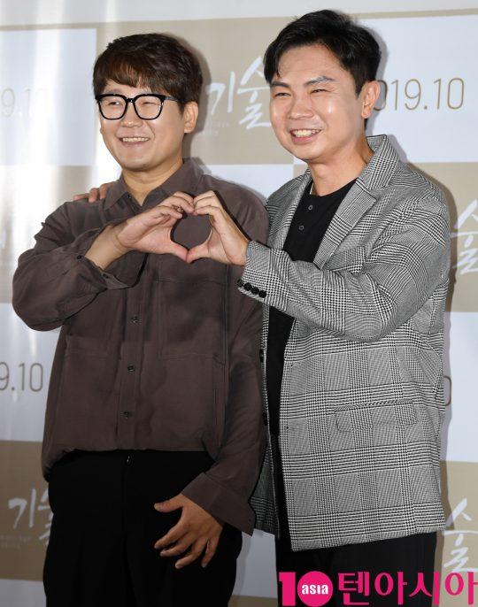 배우 김강현과 임원희가 3일 오전 서울 한강로3가 CGV 용산아이파크몰점에서 열린 영화 '재혼의 기술' 제작보고회에 참석하고 있다.