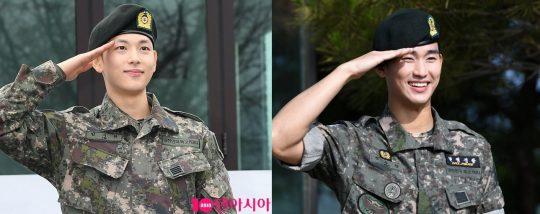 임시완(왼쪽), 김수현, 군 전역 모습./ 사진=텐아시아DB