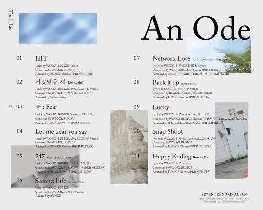 그룹 세븐틴의 새 음반 곡 목록. / 제공=플레디스 엔터테인먼트