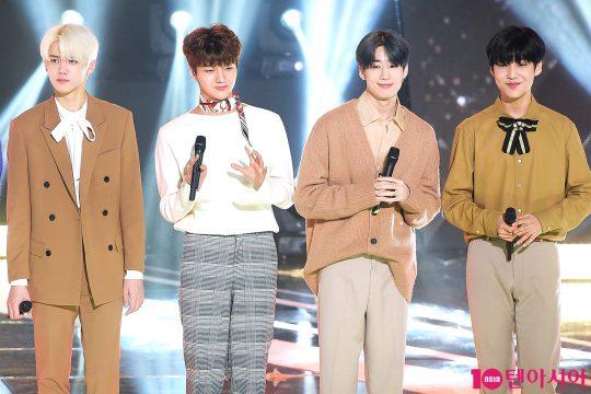 엑스원 강민희(왼쪽부터), 차준호, 한승우, 이은상