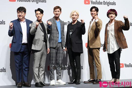 신동(왼쪽부터), 동해, 최강창민, 이특, 유노윤호, 은혁