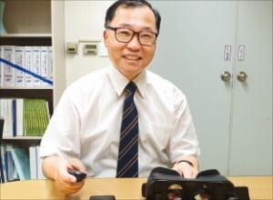 대전 KAIST 창업보육센터에서 방사능 방재훈련시스템 '브린'을 소개하고 있는 이금용 비즈 이사.  임호범 기자