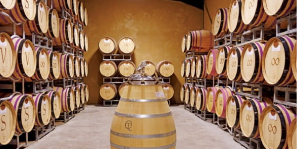 몽테스코 샤토 드 루의 와인 저장고.