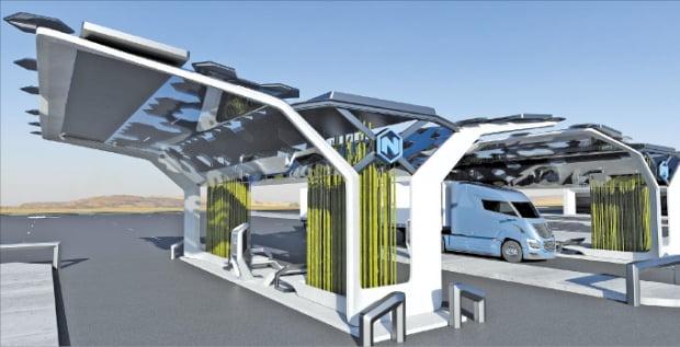 한화에너지가 투자한 미국 수소연료전지차업체 니콜라의 수소충전소 모습. 한화에너지 제공