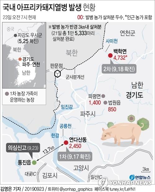 '한강 이남' 김포서 아프리카돼지열병 의심 신고…방역 초비상