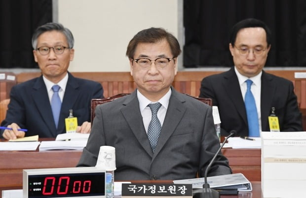 서훈 국가정보원장이 24일 국회에서 열린 정보위원회 전체회의에 출석해 있다. 사진=연합뉴스