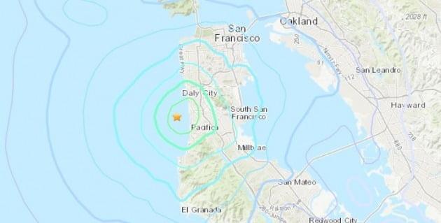 미국 샌프란시스코 인근 규모 3.6 지진 발생 /사진=미 지질조사국 홈페이지 캡처