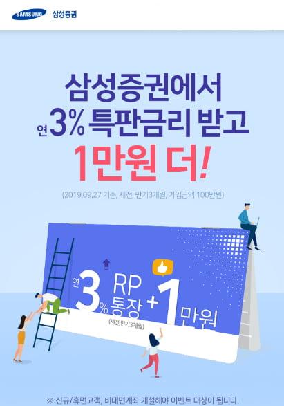 삼성증권, 신규·휴면 고객 대상 연 3% RP 특판
