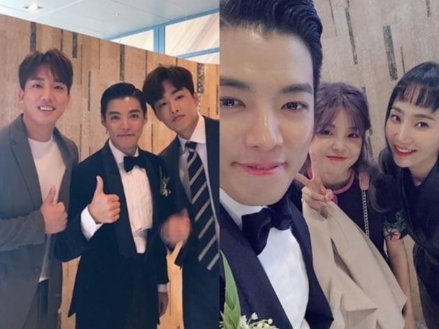 강남과 이상화의 결혼식에 참석한 하객이 공개한 사진 /사진=김환, 혜이니 인스타그램