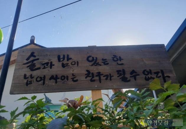 '술과 밤이 있는 한 남녀사이는 친구가 될 수 없다'고 적힌 광주의 한 문화거리 표지판