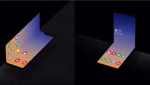 삼성전자는 29일(현지시간) 미국 새너제이에서 열린 삼성개발자콘퍼런스2019에서 새로운 형태의 폴더블폰(오른쪽)을 공개했다. 세로로 반을 접는 방식이었던 첫 폴더블폰(왼쪽)인 갤럭시폴드와 달리 가로로 반을 접는 형태로 보인다.