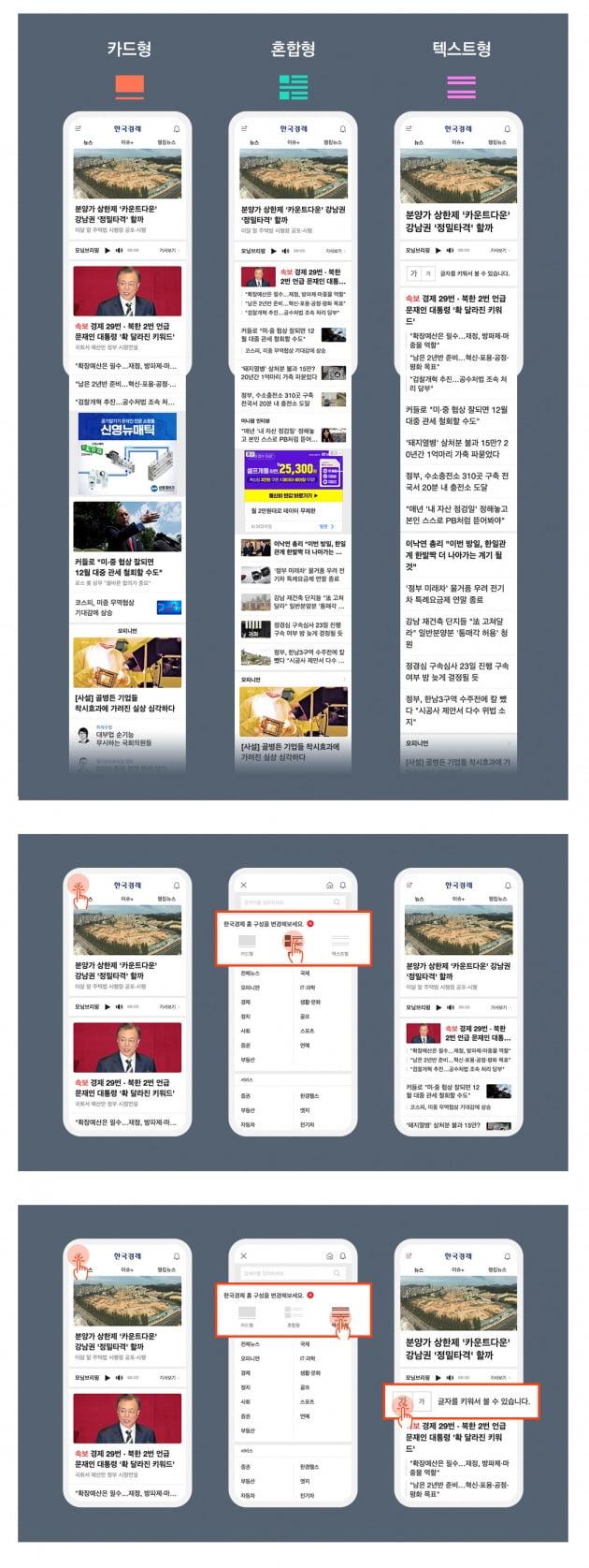 한경닷컴이 23일 새롭게 선보인 모바일 홈페이지. 카드형, 혼합형, 텍스트형 중 한 가지를 선택해 독자가 원하는 방식으로 뉴스를 볼 수 있다.