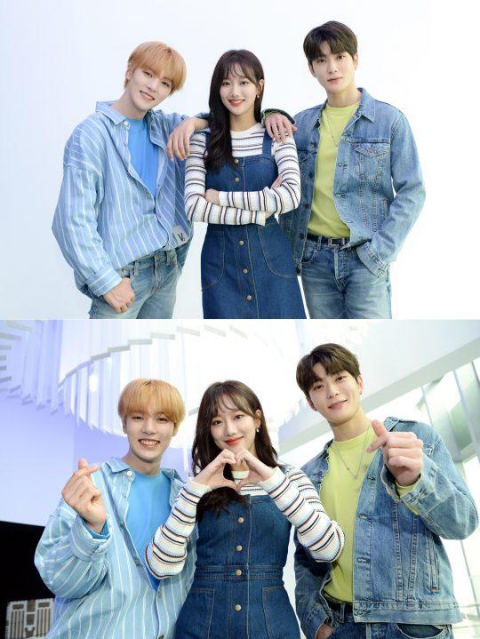 SBS '인기가요'의 새 MC로 발탁된 몬스타엑스의 민혁(왼쪽부터), 에이프릴의 나은, NCT의 재현. /사진제공=SBS