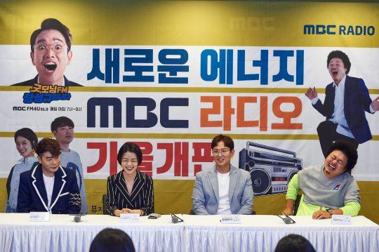 가수 뮤지(왼쪽부터), 개그우먼 안영미, 방송인 장성규, 개그맨 윤택이 8일 오전 서울 상암동 MBC 사옥에서 열린 라디오 가을개편 기자간담회에 참석했다./사진제공=MBC