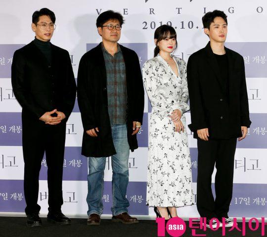 유태오,전계수 감독,천우희,정재광(왼쪽부터)이 11일 오후 서울 한강로3가 CGV 용산아이파크몰점에서 열린 영화 '버티고' 언론시사회에 참석하고 있다.