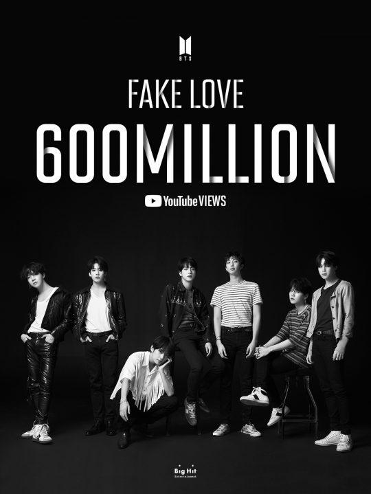 그룹 방탄소년단의 'FAKE LOVE' 뮤직비디오 6억뷰 이미지. /사진제공=빅히트 엔터테인먼트