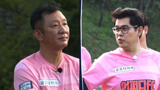 '뭉쳐야 찬다'의 허재(왼쪽), 김용만./사진제공=JTBC