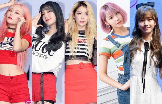 그룹 프리스틴 출신 은우(왼쪽부터), 민경, 예빈, 경원과 가수 김소희. / 사진=텐아시아DB
