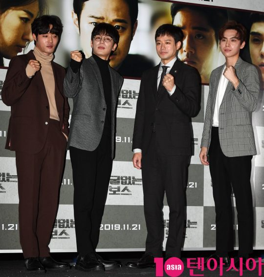 배우 이하율,진이한,천정명,김도훈(왼쪽부터)이 22일 오전 서울 신사동 압구정 CGV에서 열린 영화 '얼굴없는 보스' 제작보고회에 참석하고 있다.
