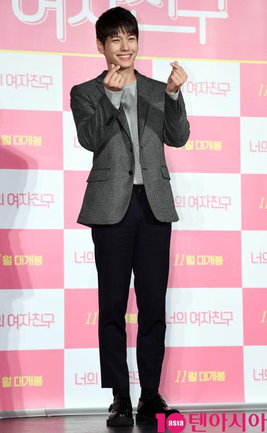배우 지일주가 24일 오전 서울 자양동 롯데시네마 건대입구점에서 열린 영화 '너의 여자친구' 제작보고회에 참석하고 있다.