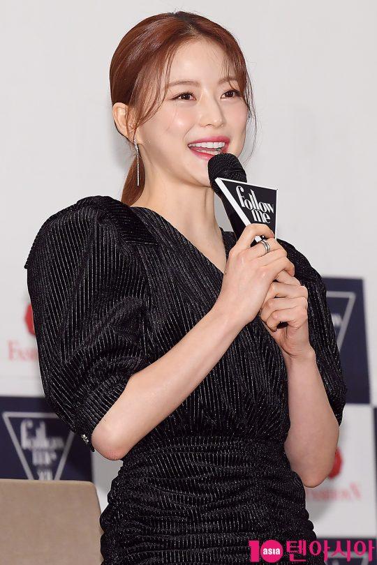 방송인 임보라가 30일 오전 서울 씨네큐브 광화문에서 열린 패션앤 예능 '팔로우미12' 제작발표회에 참석해 인사말을 하고 있다.