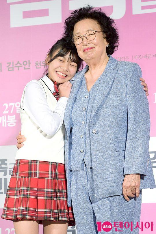 배우 김수안(왼쪽)과 나문희. /서예진 기자 yejin@