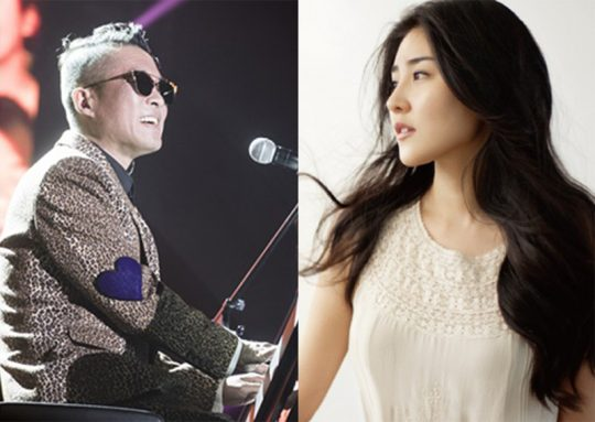 가수 김건모(왼쪽)와 피아니스트 장지연. /사진=PRM, 장지연'두나미스' 앨범 커버
