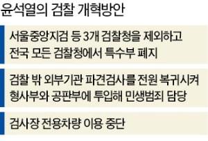 """대통령 '檢 개혁' 지시 하루 만에…尹 """"특수부, 3곳 빼고 모두 폐지"""""""
