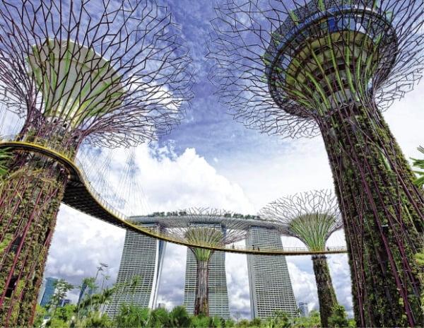싱가포르 마리나베이에 있는 인공정원 '가든스 바이 더 베이' 와 마리나베이 샌즈 호텔.     싱가포르관광청·싱가포르항공 제공