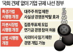 [단독] 정부 '국회 견제' 피하려 시행령 고쳐 기업 규제
