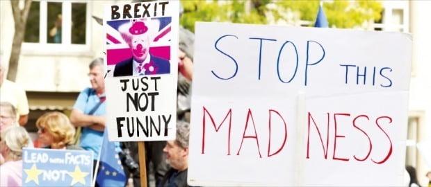 지난달 16일(현지시간) 보리스 존슨 영국 총리가 방문 중인 룩셈부르크 총리실 앞에서 브렉시트 (영국의 유럽연합 탈퇴)에 반대하는 시위가 피켓을 들고 시위를 벌이고 있다.  연합뉴스