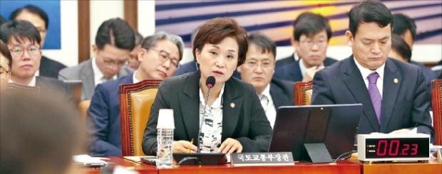 김현미 국토교통부 장관이 21일 국회에서 열린 국토교통위원회 국정감사에서 의원들의 질문에 답변하고 있다. /연합뉴스