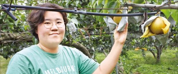 김후주 주원농원 대표가 유기농 배를 소개하고 있다. 주원농원은 유기농 배 인증 1호 농가로 4만9500㎡ 규모의 과수원에서 배를 키운다.  강진규 기자