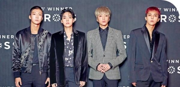 그룹 위너의 이승훈(왼쪽부터), 김진우, 강승윤, 송민호. YG엔터테인먼트 제공