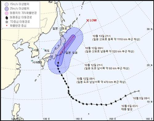 태풍 '하기비스' 영향에 동해안 시속 100㎞ 안팎 강풍