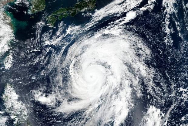 일본 접근 태풍 '하기비스' 위성사진. /사진=AP