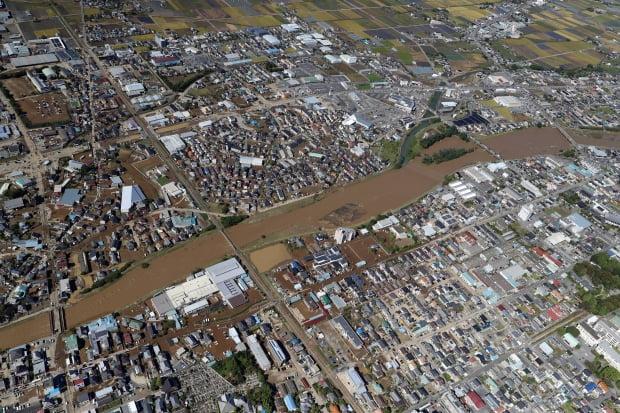 태풍 하기비스로 수몰된 마을/사진=EPA