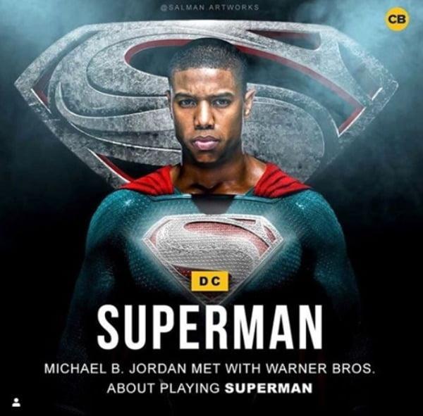 마이클 B. 조던이 슈퍼맨 옷을 입은 모습/사진=코믹북닷컴 캡처