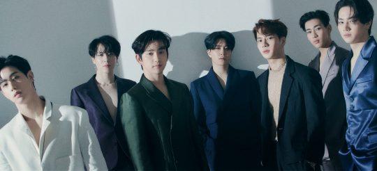 오늘(4일) 새 미니음반 'Call My Name'을 발표하는 그룹 갓세븐의 마크(왼쪽부터), 유겸, 진영, 영재, 잭슨, 뱀뱀, JB. / 제공=JYP엔터테인먼트
