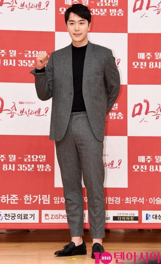 배우 최우석이 7일 오후 서울 양천구 목동 SBS 사옥에서 열린 SBS 새 아침드라마 '맛 좀 보실래요?' 제작발표회에 참석하고 있다.