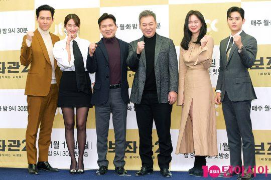 배우 이정재(왼쪽부터), 신민아, 곽정환 PD, 배우 감갑수, 이엘리야, 김동준. / 서예진 기자 yejin@