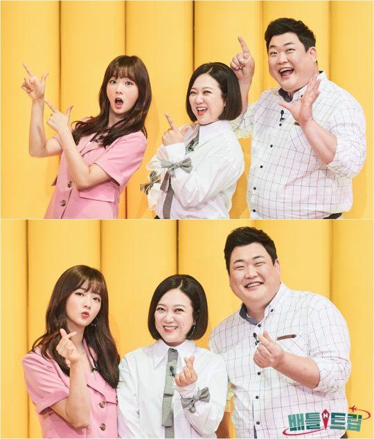'배틀트립' MC 윤보미(왼쪽부터), 김숙, 김준현. /사진제공=KBS2