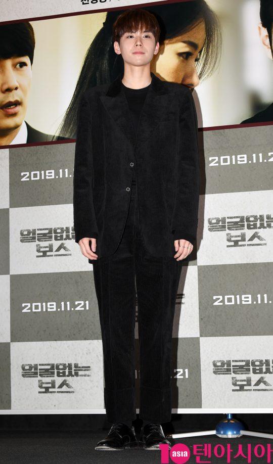 배우 김도훈이 14일 오후 서울 한강로3가 CGV 용산아이파크몰점에서 열린 영화 '얼굴없는 보스' 언론시사회에 참석하고 있다.