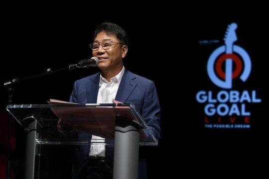 '글로벌 골 라이브: 더 파서블 드림' 공연 유치 관련 소감 밝히는 이수만 프로듀서 / 사진제공=SM엔터테인먼트
