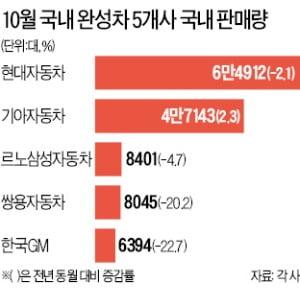 국내 완성차 5社, 수출·내수 '동반 후진'