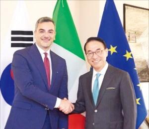 홍원표 삼성SDS 대표(오른쪽)와 파브리치오 쿠르치 피에라밀라노 대표가 피에라밀라노 컨벤션센터의 디지털 전환 추진을 위한 전략적 파트너십을 맺은 뒤 악수하고 있다.    /삼성SDS 제공