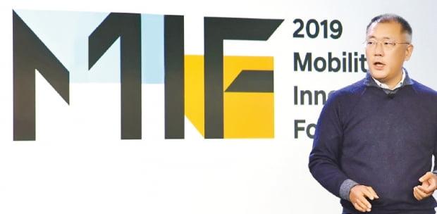 정의선 현대자동차그룹 수석부회장이 7일(현지시간) 미국 샌프란시스코에서 열린 '모빌리티 이노베이터스 포럼 2019'에 참석해 기조연설을 하고 있다.  현대차그룹  제공