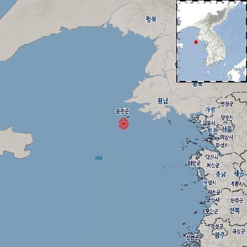 """기상청 """"인천 옹진 백령도 남쪽서 규모 2.4 지진 발생"""""""